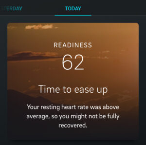 oura low readiness time to ease up